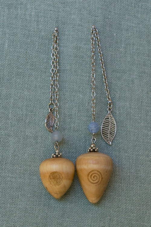 African Wild Olive Pendulums with pale blue agate bead
