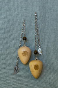 Black Bark Pendulums with Tiger's Eye Gem Stone Bead