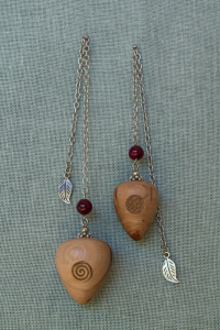 Cherry Wood Pendulums with magenta agate bead