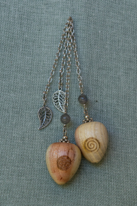 Saffron Wood Pendulums with Labradoite gem stone bead